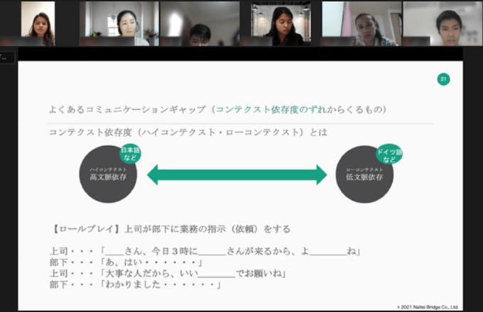 福井県オンライン日本語教育のビジネス習慣クラスの様子